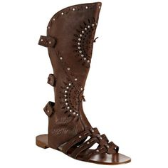 Ash tobacco studded leather 'Mystic' sandals at Bluefly ($157) ❤ liked on Polyvore featuring shoes, sandals, boots, scarpe, flats, flats sandals, ash shoes, flat heel shoes, flat shoes and ash footwear