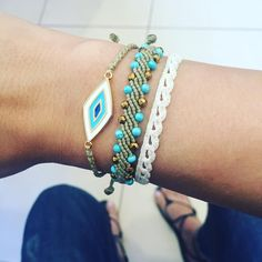 ❤️ #handmade #bracelet #macrame #evileye #semipreciousstones #summerstyle #bohochic #greekdesigners Macrame Jewelry, Macrame Bracelets, Jewelry Bracelets, How To Make Leather, Micro Macrame, Anklets, Statement Jewelry, Boho Chic, Jewerly