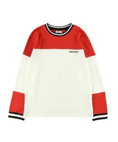 DING(ディング)のDING/FREEDOMバイカラーロングTシャツ(Tシャツ/カットソー) レッド