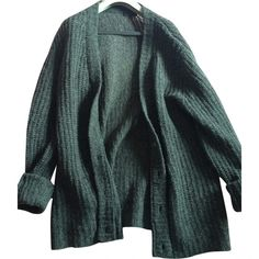SWEATER PRADA ($230) ❤ liked on Polyvore featuring tops, cardigans, outerwear, sweaters, green cardigan, wool cardigan, prada, prada cardigan and green top