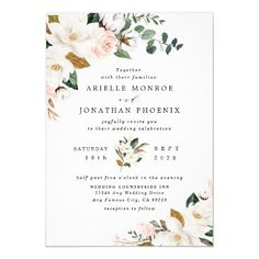 Blush Pink Gold and White Magnolia Floral Wedding Invitation ❤ Affiliate ad link. Customize these invitations / cards / products for your weddings. Elegant Wedding Invitations, Wedding Invitation Cards, Wedding Themes, Wedding Colors, Shower Invitation, Wedding Stationery, Wedding Cards, Groomsmen Invitation, Wedding Stamps