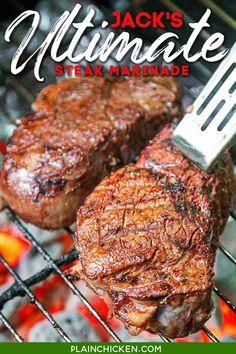 Jack's Ultimate Steak Marinade - Plain Chicken Steak Marinade Recipes, Meat Marinade, Marinated Steak, Grilling Recipes, Meat Recipes, Cooking Recipes, Marinade Chicken, Game Recipes, Chicken Steak