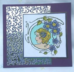 Paperartsy stamp coloured with Fresco Finish paints with embossed mirror card background