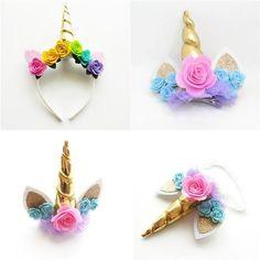 Gold Horn Unicorn Headband & Hair Clips #HairClips