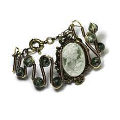 Listing ToolsEdit Renew PromoteCopy Deactivate Delete  Stats  Steampunk  Victorian Jewelry - Bracelet - Cameo and Seraphinite by CatherinetteRings