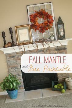 Download this free Fall Printable and follow easy directions to create an easy framed piece of Fall Mantle Decor | www.MoritzFineBlogDesigns.com