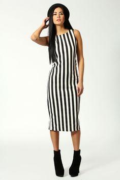 Toni Stripe Sleeveless Bodycon Midi Dress £18 >> http://www.boohoo.com/restofworld/clothing/new-in/icat/newin/evening-dresses/toni-stripe-sleeveless-bodycon-midi-dress/invt/azz54230