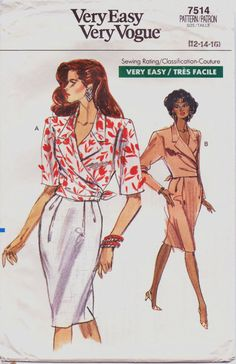 1980s Very Easy Very Vogue Pattern 7514 Womens Wrap by CloesCloset, $8.00