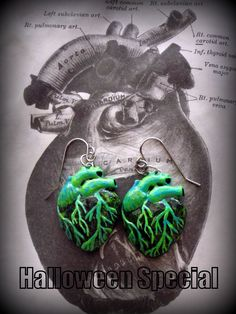 Handmade Anatomical Zombie Heart Dangle Earrings by JessicaHyett, $16.00