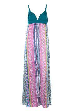 Turquoise Grecian Satin Maxi Dress by Charlotte's Web | Charlotte's Web