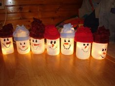 Cheap and Easy Christmas Crafts for Kids to Make at Preschool – Snowmen - Lighted Painted Snowman Jars Snowmen Frosty Friends Craft k - Kids Crafts, Christmas Crafts For Kids To Make, Christmas Projects, Holiday Crafts, Jar Crafts, Christmas Mason Jars, Christmas Snowman, Simple Christmas, Kids Christmas