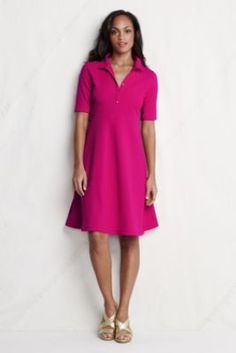 Womens Elbow Sleeve Fit Flare Polo Dress from Lands End -- can't decide if I like this better in the pink or the navy.