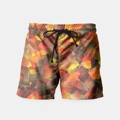 Autumn Colors Cut Paper Pattern Swim Shorts, Live Heroes Cut Paper, Paper Cutting, Mens Swim Shorts, Cut And Color, Pattern Paper, Sunny Days, Swimsuits, Autumn, Mens Fashion