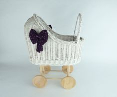 WIKLIBOX wicker & wood doll's stroller with soft muslin bedding. Available in many colours. Baby walker by WIKLIBOX on Etsy Dolls Prams, Bassinet, Wicker, Little Girls, Bedding, Colours, Paint, Wood, Unique Jewelry