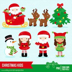 CHRISTMAS KIDS Digital Clipart,  Christmas Clipart, Santa Claus Clipart,  Elves, Elf Clipart  / Instant Download