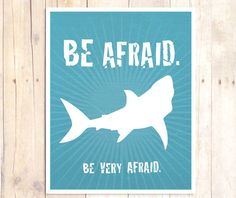 Shark Art Print Shark Wall Decor Typography Print by BlessedType