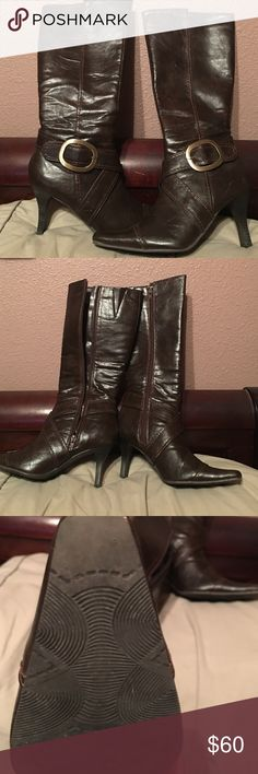 Beautiful chocolate and gold accent heeled boots Beautiful chocolate and gold accents.  High heeled boots-beautiful CL Laundry Shoes Heeled Boots