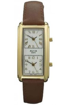 2cf84520730 Unusual twin face Avia ladies  watch Brown Leather Strap Watch
