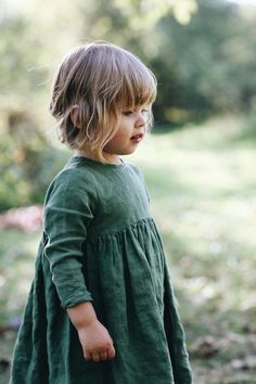Little Girls Handmade Green Linen Dress Toddler Girl Style, Toddler Fashion, Kids Fashion, Toddler Girls, Boys Style, Fashion Fall, Fashion Clothes, Fashion Outfits, Womens Fashion