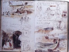 Delacroix's journal page from his trip to Morocco in the 1800's– only using neutral colors