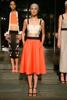 Tanya Taylor Spring 2013: bustier top and high waisted tea length skirt. Orange is coming back this spring