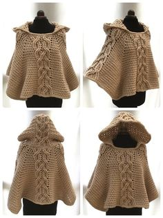Milena Twist Cable Hooded Poncho
