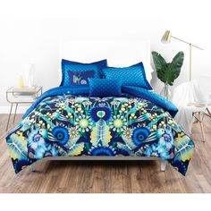 Catalina Estrada Jardin Navy & Green Comforter Set (5 Piece - King), Blue (Microfiber, Floral)