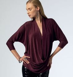 """Misses' Tops by McCall's:  M6841.  I like the drape on this (as I have """"a middle""""), but am worried about how low it appears to drape.  May wait to see if this gets showcased in a sewing mag."""