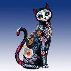 Purr-Fectly Sweet Sugar Skull Cat Figurine - Bradford Exchange