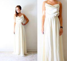 SALE Vintage Wedding goddess cowl drape neckline by BeigeVintageCo, $290.00