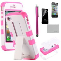 Pandamimi ULAK(TM) White Hybrid High Impact Case Cover Pink Silicone Stand for Apple iPhone 4 4S with Screen Protector and Stylus, http://www.amazon.com/dp/B00D6BYK42/ref=cm_sw_r_pi_awdm_M7GIsb01N8WGN