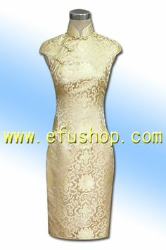 Golden rich flower cheongsam dress SCT120 - Custom-made Cheongsam,Chinese clothes, Qipao, Chinese Dresses, chinese clothing,EFU Tailor Shop