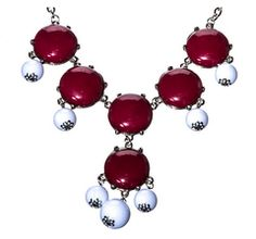 Texas A&M or Mississippi State Game Day Maroon & White Bubble Necklace