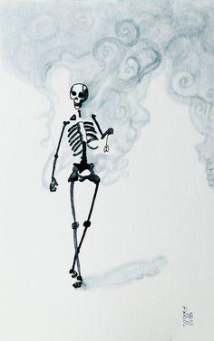 Skeleton just Chillin' by DaniBubArt on Etsy, $10.00