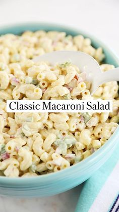 Best Salad Recipes, Easy Pasta Recipes, Side Dish Recipes, Pasta Salad Recipes Cold, Great Recipes, Dinner Recipes, Side Dishes, Classic Macaroni Salad, Best Macaroni Salad