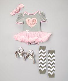 Baby Gem Gray & Pink Heart Skirted Bodysuit Set - Infant | zulily