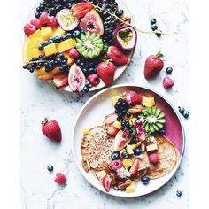 """Tropical Tuesday's with @elsas_wholesomelife delicious looking fruity pancakes! """