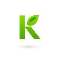 Letter K eco leaves emblem icon design template elements vector art illustration