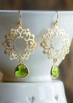 Green Peridot GOLD Lace Earrings Bohemian