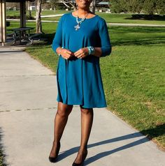 Womens Timeless Teal Long Sleeve, Scoop Neck, Jersey Swing Dress - Easy, Comfy, Sassy, Plus size Long Sleeve Swing Dress - All Sizes / Colors Available.  This stunning, sassy, sexy swing / circle dress is for the lady who loves lots of fabric...soft, drapery, flowing jersey knit fabric that follows her every move. Contrast piping at neckline, sleeves and hem accentuates the drapery, slouchy silhouette. Belt it or let it flow its simply exquisite.  *Scoop neck - slips on over head *L...