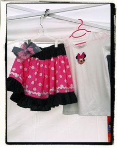 Minnie Mouse 3pc Outfit Boho skirt applique shirt & hairbows by V3STIOs, $24.99