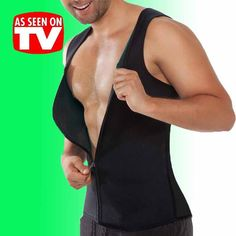4117fa071aa0f Details about Gym Mens Shaper Corset Sweat Vest Body Latex Control Zipper Waist  Trainer Black