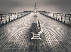 Penarth Pier by keithmillard. Railroad Tracks, Seaside, Sidewalk, Explore, Black And White, Ideas, Black N White, Beach, Side Walkway