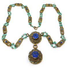 Vintage Czech Art Deco Ornate Floral Filigree Lapis Peking Glass Bead Necklace