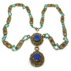 Vintage Czech Art Deco Ornate Floral Filigree Lapis Peking Glass Bead Necklace