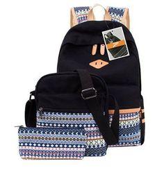 Leaper Cute Polka Dot and Aztec Canvas Backpack School Bag Lightweight Rucksack