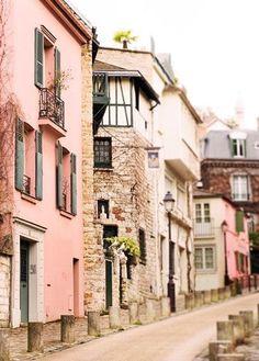 Pink:  Street in Montmartre, Paris