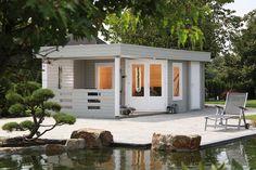Das 5-Eck-Gartenhaus Maja 40-B2 mit Terrasse ist der optimale Rückzugsort im Garten.
