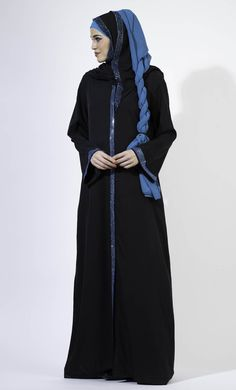 Blue Crystal Accent On Black Abaya with crystal hijab Modest Wear, Modest Outfits, Black Abaya, Kaftan Style, Islamic Clothing, Pakistani Outfits, Blue Crystals, Baby Dress, Desi