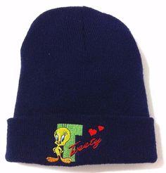 vtg women TWEETY BIRD HEART LOVE BEANIE Navy Cuffed Winter Knit Ski Looney Tunes #unknown #Beanie